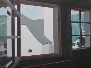 Christine Ebersbach Fensterausblick 2015 Acryl Lw 60y80 cm
